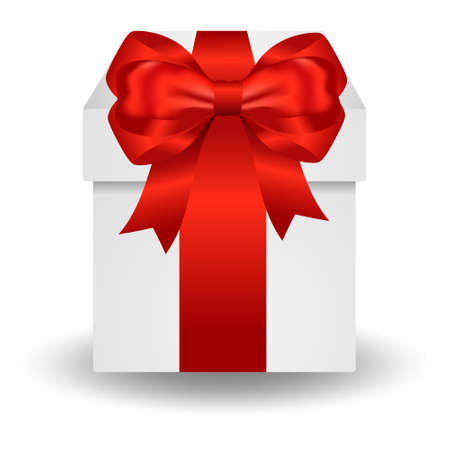 Gift box with red ribbon isolated on white background. Vector illustration. Single box with red ribbon. Christmas gifts. Gift box and holiday decorations. Gift box surprise for birthday. 向量圖像
