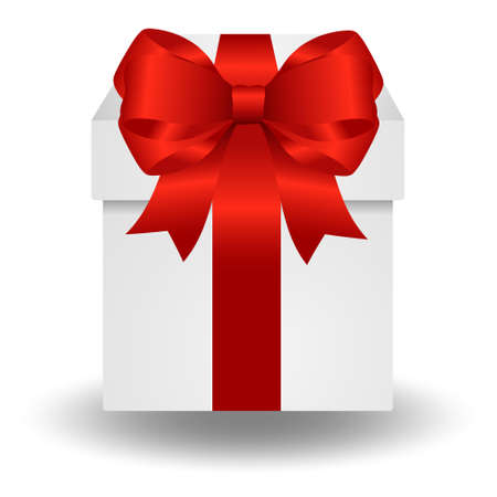 Vector gift box with red ribbon isolated on white background. Beautiful single box with a red ribbon. Christmas gifts.Gift box and holiday decorations.Gift box surprise for birthday.
