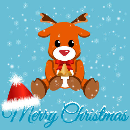 Cute little fawn with a red ribbon and a bell. Postcard with a Christmas deer. Cartoon character with Christmas attributes Santa hat. Vector Merry Christmas card. 일러스트