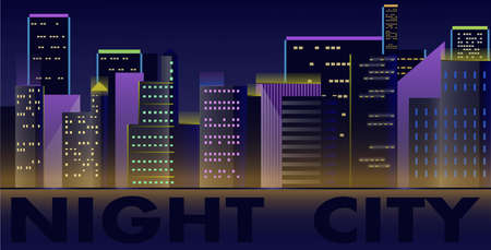 A vector image of a night city skyline of several buildings and skyscrapers. Business center. Night in the big city. For banner, poster, website or other purposes.