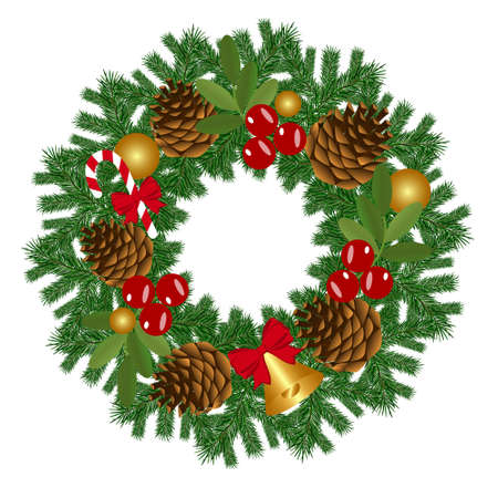 Traditional festive Christmas wreath isolated on white background. Festive round wreath of pine branches decorated with pine cones, red berries, bell with red ribbon and candy. Vector illustration.