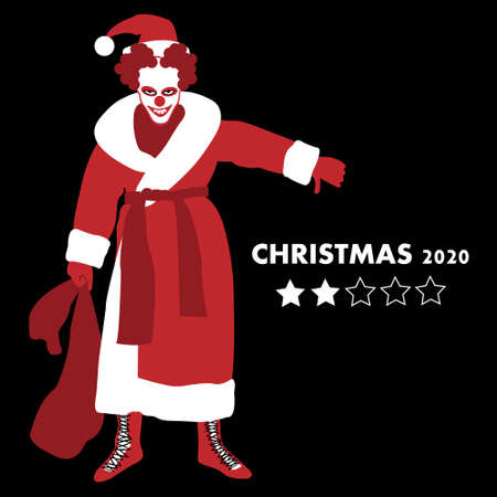 Santa Clown shows bad Christmas in leap year 2020. 向量圖像