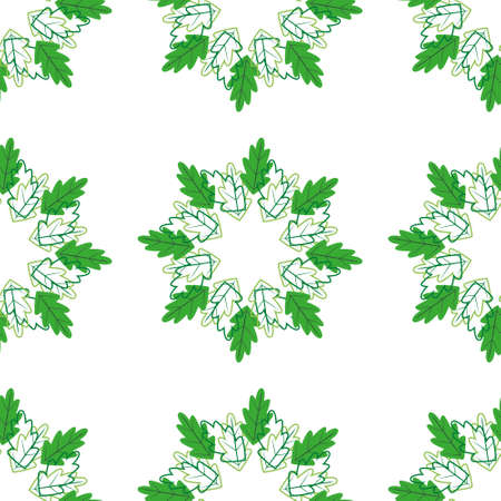 Wreaths of leaves and their contours on white