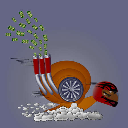 A cartoon turbo snail in a dynamic pose with a turbine and pipes on its side rushes towards the target. The concept of speed and success.