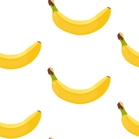 Bananas seamless vector pattern. Yellow ripe bananas on a white background. Pattern of yellow ripe bananas randomly distributed on a white background. Vector Illustratie