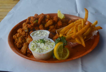 hits: Fried clams, fries and cole slaw