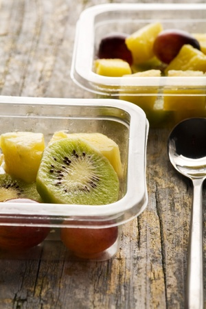 Fruit salad in a container ready to be eaten