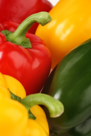red peppers: Close up image of five peppers Stock Photo