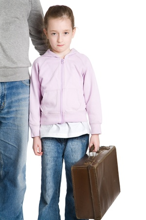 Young unhappy child leaving home Stock Photo - 9088398
