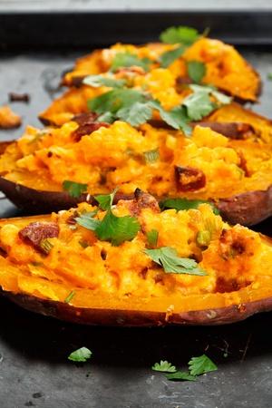 Stuffed sweet potatoes with chorizo