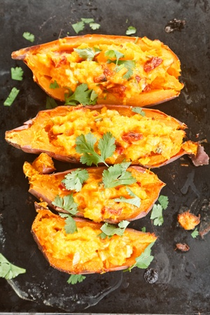 baked potato: Stuffed sweet potatoes with chorizo