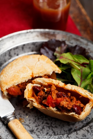 Mini chilli beef and bean pies photo