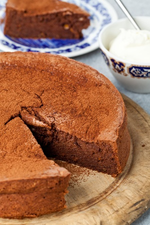 Gluten free chocolate orange cake made with ground almonds instead of flour