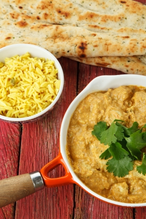 chicken curry: Indian Chicken Curry with Rice and Naan Breads