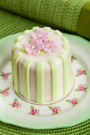 Luxury decorated mini cake with pink petals on a green background
