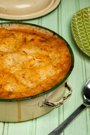 chickpea: Spiced Lamb Pie with Chickpea Potato Mash Stock Photo