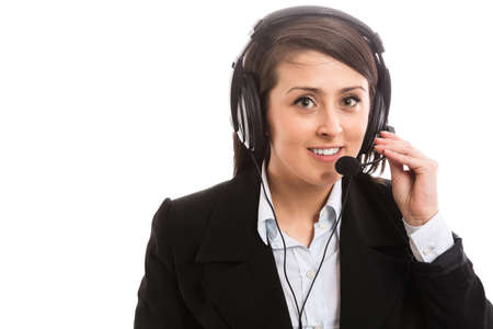 age 20 25 years: Smiling support operator with headset Stock Photo