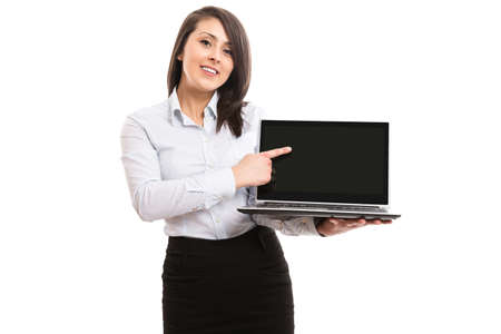 netbook: Businesswoman showing laptop netbook screen Stock Photo