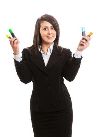 Attractive businesswoman with highlighters in her hands photo
