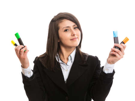 Beautiful accountant with highlighters photo