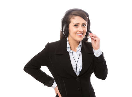 Nice young call center worker with headset photo