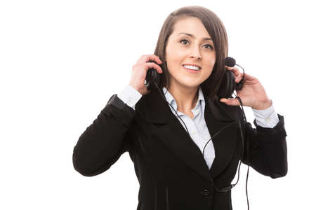 Young attractive open support operator photo