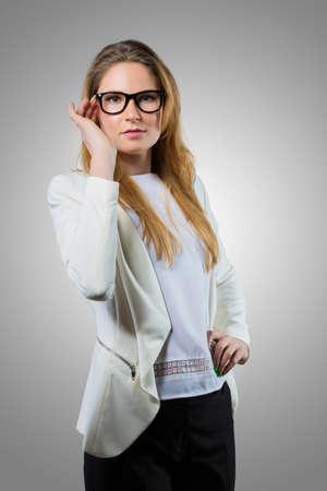 nerdy: Cute nerdy woman in casual wear