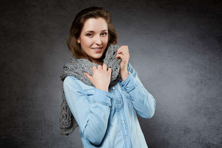 18 19: Beautiful natural young woman with soft scarf