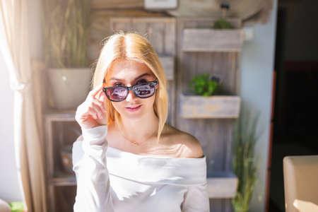 looking behind: Looking behind the glasses Stock Photo