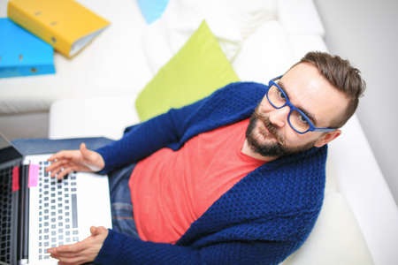 bespectacled man: Dont disturb me Stock Photo