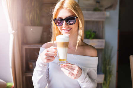 happier: Coffee can make you happier Stock Photo