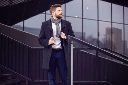 newest: Male model presenting newest men fashion Stock Photo