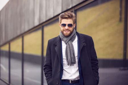 horizontal haircut: Going for a walk in the city Stock Photo