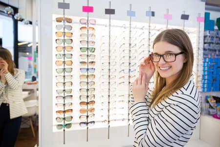 bespectacled: Girl buying glasses