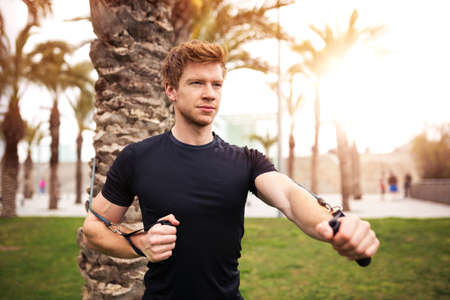 pursuing: Man pursuing his sport goal Stock Photo