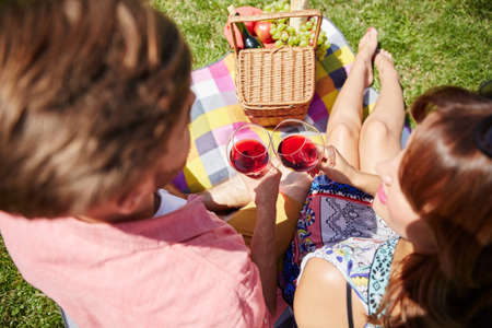 picnicking: Couple drinking wine while picnicking Stock Photo