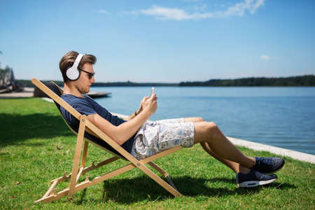 Relax with the music Stock Photo