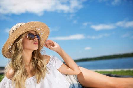 Beautiful girl sunbathing in the fresh air