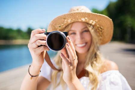 ladylike: Small digital camera Stock Photo