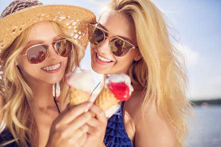 Happiness is eating ice cream Stock Photo