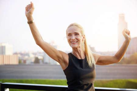 blissfull: Very happy businesswoman
