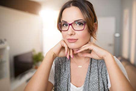 Pretty intellectual woman Stock Photo