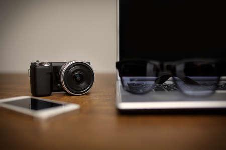 plainness: Desk full of electronic gadgets