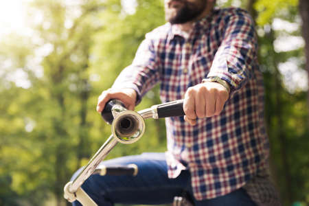 Honking on bicycle trumpet Stock Photo