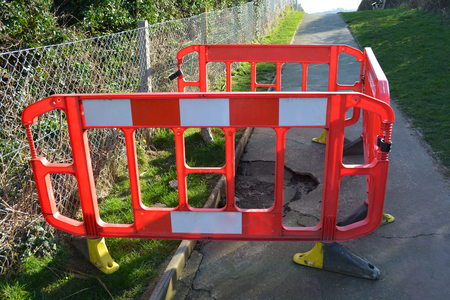 Roadworks Barrier on Footpath Repair