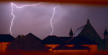 Lightning Over Rooftops at Sandown on the Isle of Wight.