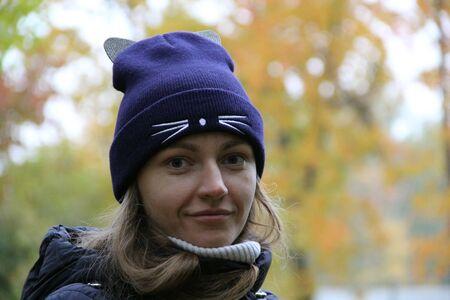 Girl in autumn in the Park