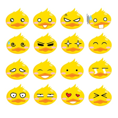 Illustration - Duck facial expressions cartoon vector icon set Vector