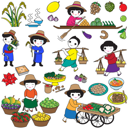 street vendor: Thai icons and symbols illustration set Illustration