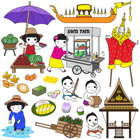 thai style: Thai icons and symbols illustration set Illustration